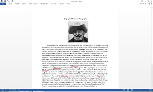 Ansel Adams Biography by RyanAvelino