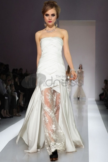 zuhair murad wedding dresses , see through strapless white fashion