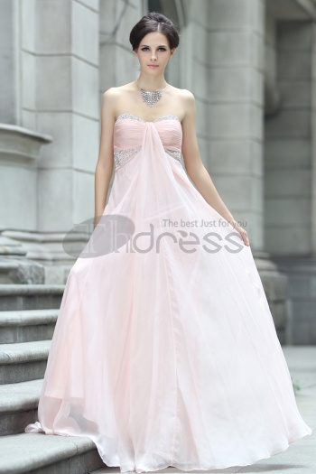 Strapless Chiffon Beaded Pink Evening Dress