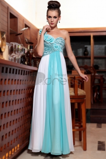 Manufacturer Selling Blue White One Shoulder Long Sequin Prom Dresses For Women New Arrival