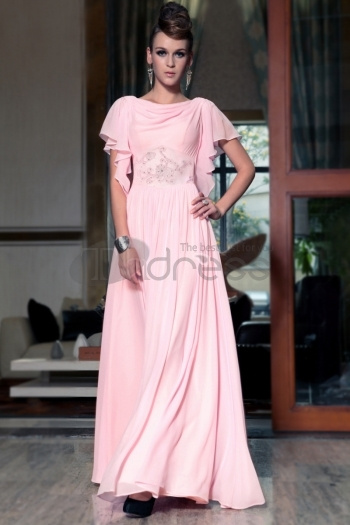 Free Shipping Loose Style Cap Sleeves One Pink Long Formal Wear Bridesmaid Dresses With New Fashion by NarutoDonson