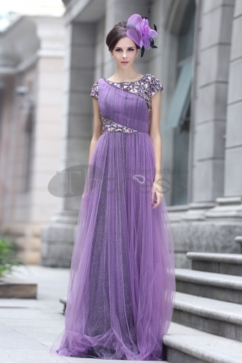 The Word Shoulder The Sequins Beaded Purple Evening Dress