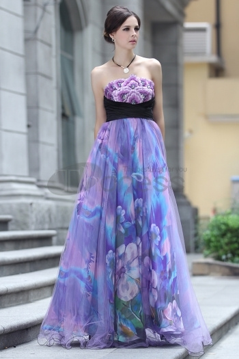 Strapless Silk Embroidery Beaded Purple Evening Dress by...