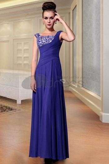 Long Dresses Evening, Dark Blue Empire Waist Dresses For...
