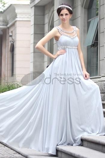 High Waist Light Gray Chiffon Beaded Evening Dress