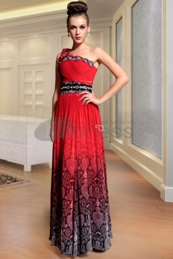 Free Shipping One Shoulder Gorgeous Red Long Evening...