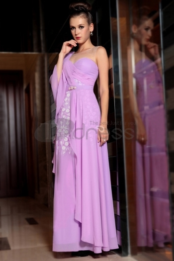 One Shoulder Unique Style Turquoise Violet One Sleeve Fashion Celebrity Dresses