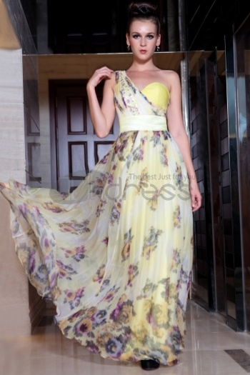 One Shoulder Long Print Elegant Sweetheart Evening Gown Dresses For Prom