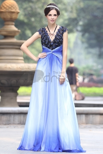 Deep V Lace Beaded Blue Chiffon Evening Dress