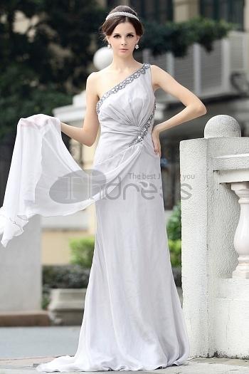 Shoulder Chiffon Beaded Light Gray Evening Dress