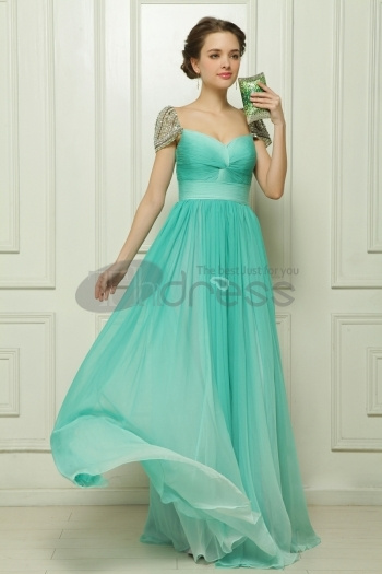 Gradient Of The Word Shoulder Chiffon Beaded Green...