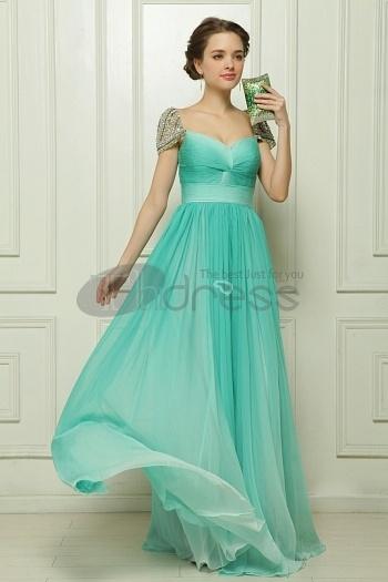 Gradient Of The Word Shoulder Chiffon Beaded Green Evening Dress