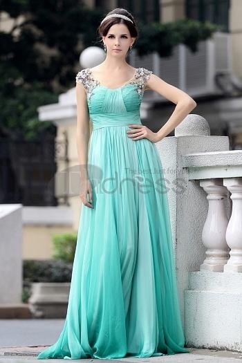 Gradient Green Chiffon Beaded Evening Dress