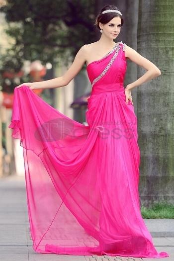 Shoulder Chiffon Beaded Rose Red Evening Dress