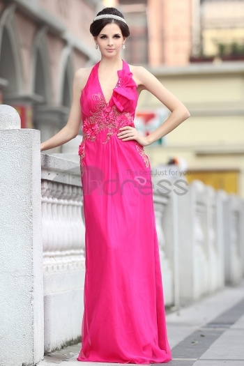 Halter Chiffon Beaded Embroidery Rose Red Evening Dress