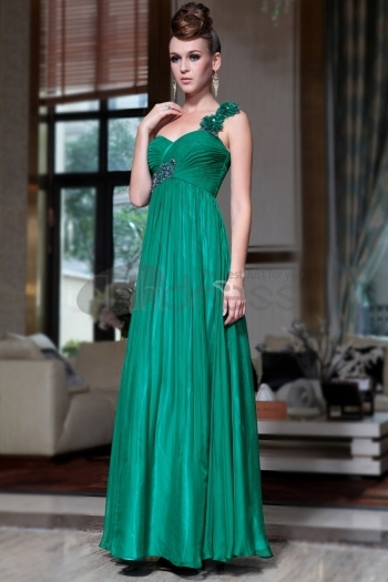 Evening Dress Supplier Dark Green One Shoulder Long Prom Dresses With Beads And Sequins