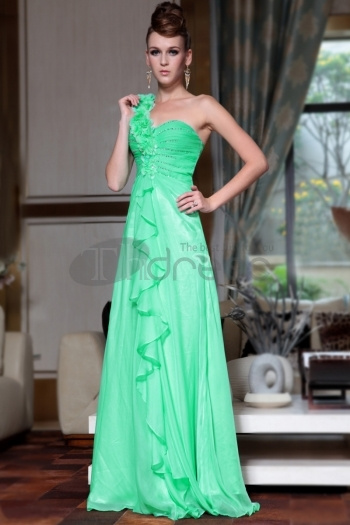 One Shoulder Green Fashion Evening Dresses New Arrival