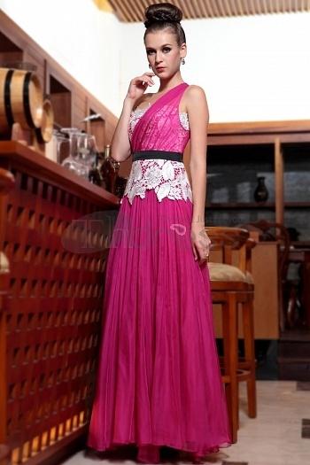 One Shoulder Fast Shipping Falbala Deep Pink Formal Wear Dresses Evening