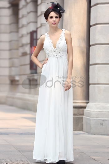 Composite Wire Beaded White Evening Dress