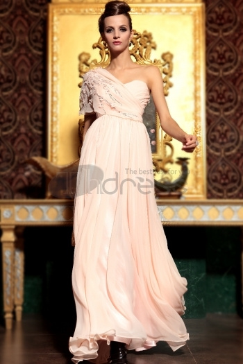 The Pink Shoulder Elegant Long Section Of High-Grade Evening Dress
