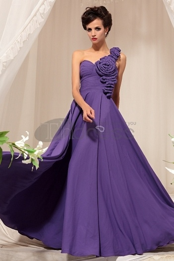 Purple One Shoulder Bridesmaid Toast Upscale Evening...