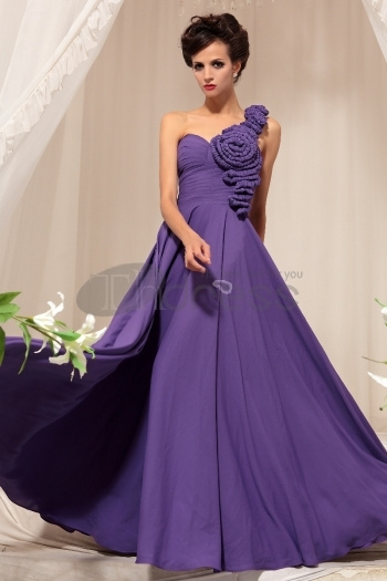 Purple One Shoulder Bridesmaid Toast Upscale Evening Dress