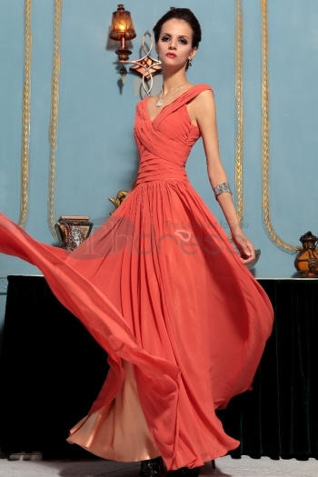 Simple Orange Deep V Neck Long Evening Dress