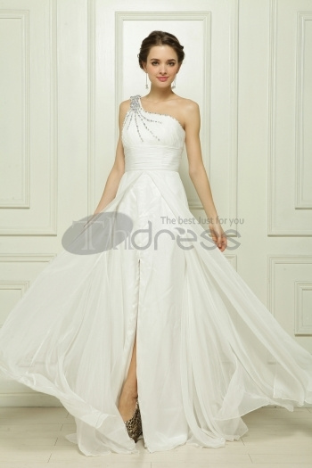 Shoulder White Chiffon Beaded Evening Dress