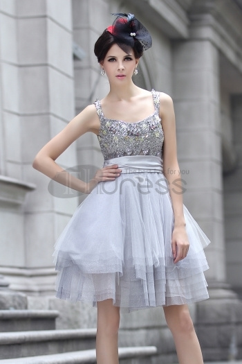 The Gray Strap Beaded Cocktail Dress