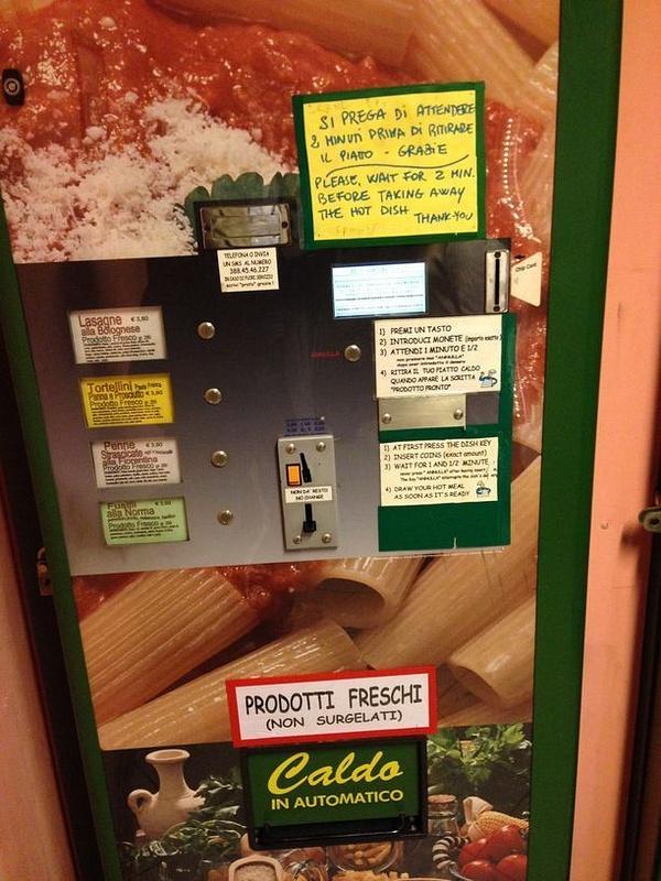 A pasta vending machine