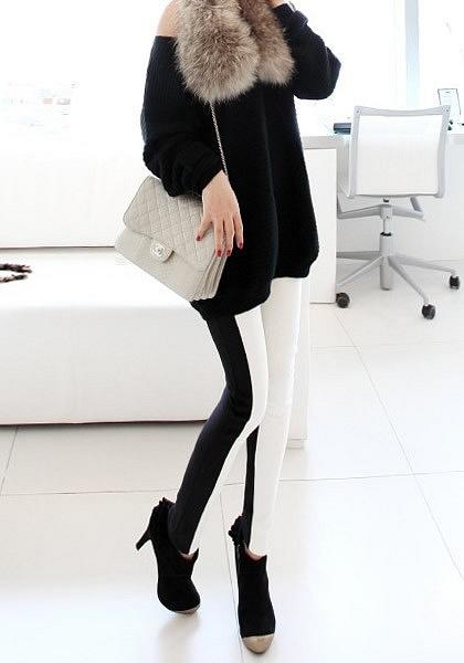 Black White Slim Leggings by LookBookStore