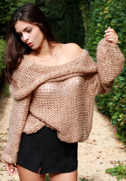 Cowl Neck Sweater - Camel by LookBookStore
