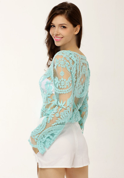 Crochet Lace Top - Teal by LookBookStore