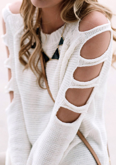 Cutout Sleeves Sweater - White by LookBookStore