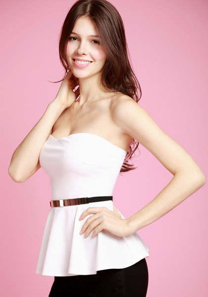 Flared White Top - With Belt by LookBookStore