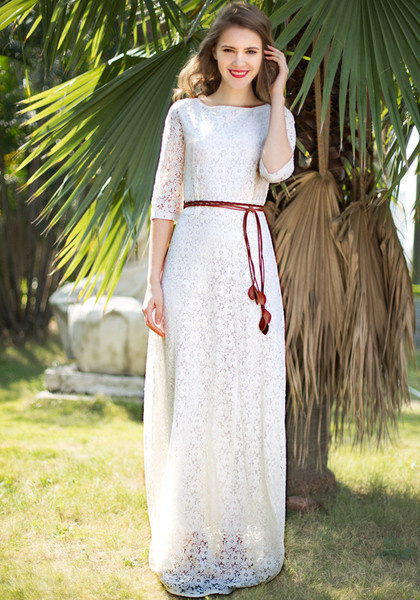 Floral Maxi Lace Dress by LookBookStore