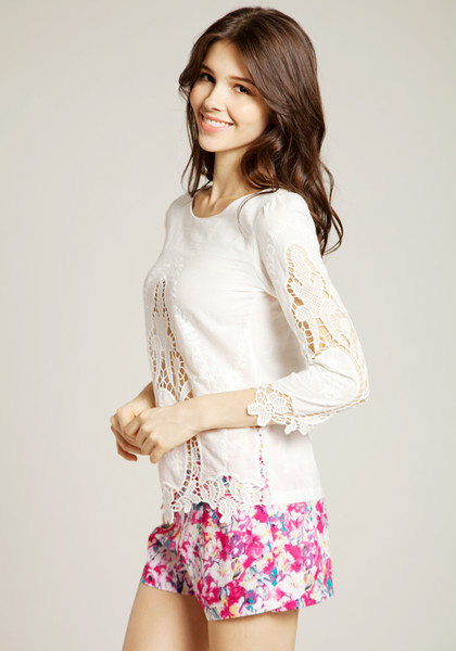 Floral White Cut Out Top by LookBookStore