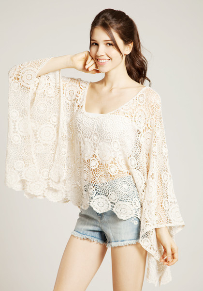 Oversize Batwing Crochet Top by LookBookStore