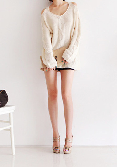 Shoulder Cut Out Sweater - Ivory by LookBookStore