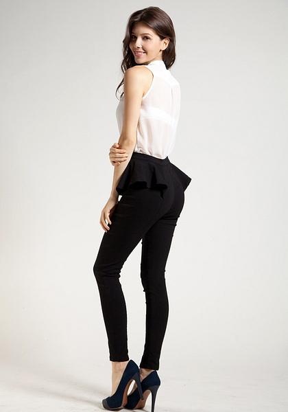 Peplum Skinny Pants - Black by LookBookStore