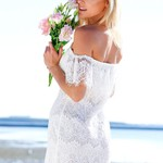 Hollowed Lace Bodycon Dress - White