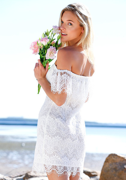 Hollowed Lace Bodycon Dress - White by LookBookStore