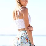 Hollowed Floral Crop Tank - White