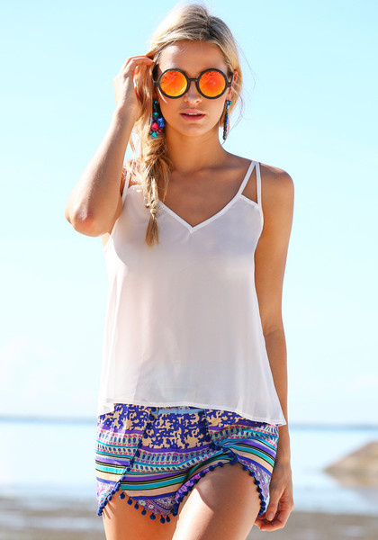 V Neckline Chiffon Top - White by LookBookStore