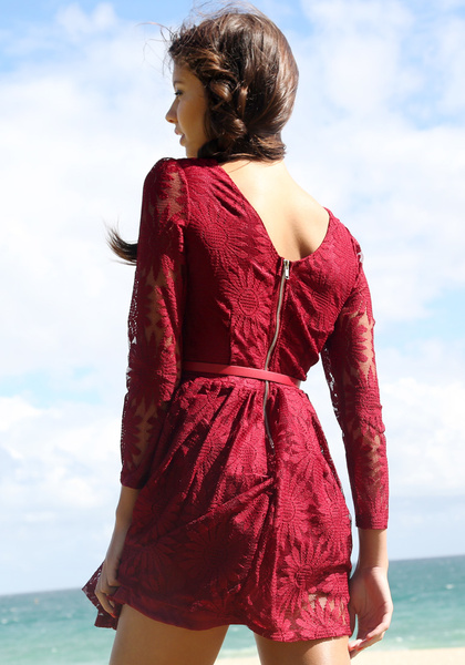 Floral Embroidery Dress - Port by LookBookStore