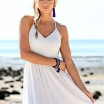 Crochet Cutout Maxi Dress - White