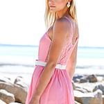Lace Keyhole Romper - Pink