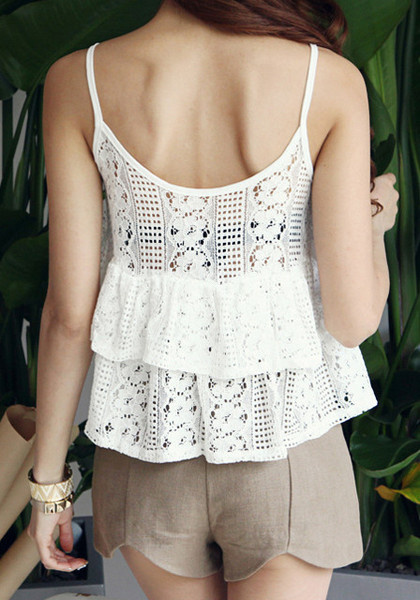 Double Layered Lace Top - White by LookBookStore