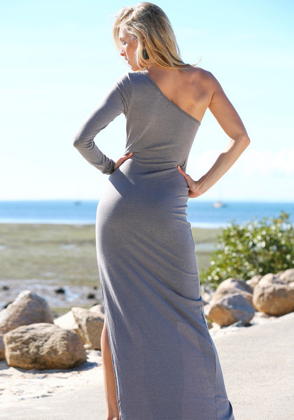 One Shoulder Dress - Grey by LookBookStore