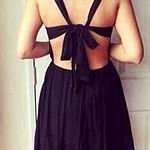 Crisscross Cutout Dress - Black